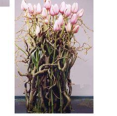 Tulips, pruning, egg shells and pebbles - placed in an opaque, waterproof scale cm high and 30 cm diameter) Deelnemers brengen zelf een on.