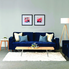 Lounge like a king or queen on our hot Upholstery Blue Velvet Modern Inga Sofa. Complete your living room with a mid-century modern classic. Living Room Paint, Living Room Grey, Living Room Modern, Living Room Interior, Living Room Chairs, Rugs In Living Room, Living Room Designs, Living Room Furniture, Living Room Decor