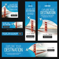 Tours & Travels Banners Bundle - 10 Sets #Travels, #amp, #Tours, #Banners Banner Design, Layout Design, Instagram Banner, Facebook Banner, Web Banners, Youtube Banners, Bugs, Typography, Graphics