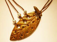 Hoja marrón y oro - Arcilla polimérica, Polymer Clay | Uchi