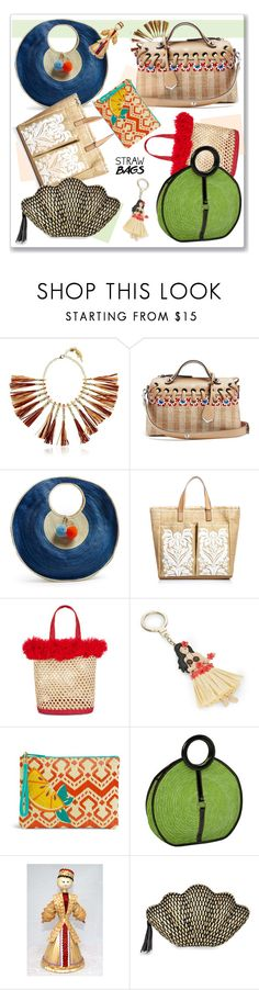 """""""Straw Bags"""" by nantucketteabook ❤ liked on Polyvore featuring Rosantica, Fendi, Sophie Anderson, Anya Hindmarch, Nannacay, Kate Spade, Vera Bradley, Magid, Kayu and Summer"""