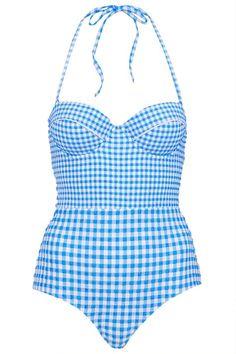 Blue Gingham Swimsuit - Swimwear - Clothing - Topshop Thailand