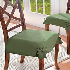 Give Your Dining Chairs A Fresh New Look With Microsuede Chair Covers If You Are Wondering I Tied These Bows