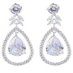 9c7616186 Miley Crystal Halo Drop Earrings Unique Earrings, Bridal Earrings, Dangle  Earrings, Diamond Earrings