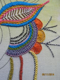 Ella s craft creations posting a little eye candy – Artofit Hand Embroidery Stitches, Embroidery Fabric, Fabric Art, Beaded Embroidery, Cross Stitch Embroidery, Embroidery Patterns, Machine Embroidery, Creative Embroidery, Cross Stitching