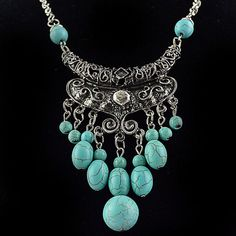 Boho Turkish Tribal Festival Pendant Turquoise Gypsy Bib Statement Necklace New #Handmade #Chain
