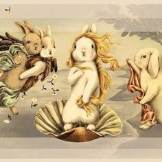 Funny pictures about Birth Of Bunny-Venus. Oh, and cool pics about Birth Of Bunny-Venus. Also, Birth Of Bunny-Venus photos. Art And Illustration, Rabbit Illustration, Illustrations, Bunny Art, Cute Bunny, Lapin Art, The Birth Of Venus, Rabbit Art, Bunny Rabbit