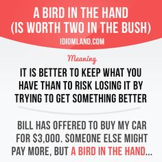 """""""A bird in the hand (is worth two in the bush)"""" means """"it is better to keep what…"""