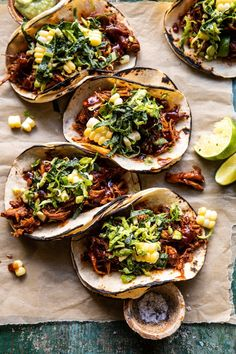 (weeknight style) Instant Pot BBQ Beer Pulled Chicken Tacos…with spicy avocado ranch and sweet corn slaw. Because loaded tacos are just… Tortillas, Beer Chicken, Chicken Recipes, Mexican Food Recipes, Dinner Recipes, Ethnic Recipes, Instant Pot, Nachos, Pulled Chicken Tacos