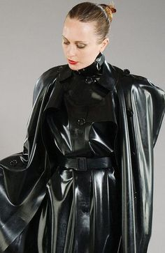 Black Rubber Raincoat Cape