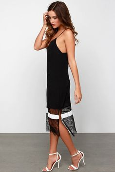 Slip and Glide Ivory and Black Lace Slip Dress I love this