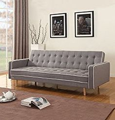 Mid-Century Modern Two Tone Vintage Linen Sleeper Futon Sofa, Grey, Beige, Red (Light Grey).  Space saving, sensible living, small space, tiny house