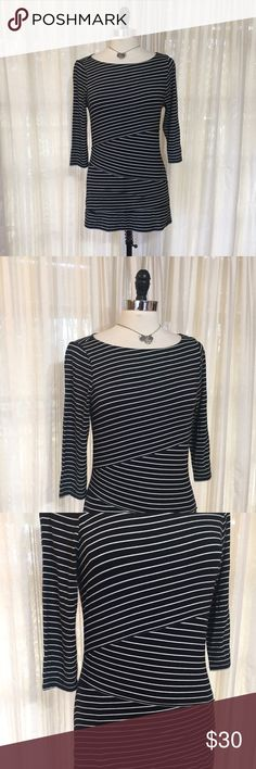 💟WHBM black striped layered jersey knit tunic top Size small. 3/4 sleeve. Rayon, spandex. EUC  💟Fast 1-2 day shipping 💟Reasonable offers accepted 💟Purchase 3 or more items & get a special bundle rate!  💟Smoke-free home White House Black Market Tops Tunics