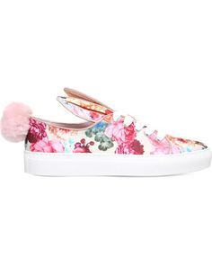 Minna Parikka Tail Floral-print Satin Trainers In Pink Comb Satin Shoes, Pink Shoes, Lace Up Shoes, Floral Sneakers, Lace Sneakers, Floral Print Shoes, Floral Prints, Summer Sneakers, Pink Satin