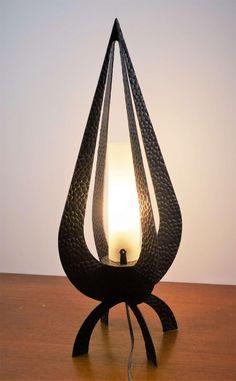 Lampe de table en fer forgé 1950 – 1950 wrought iron table lamp de la boutique nestfrance sur Etsy