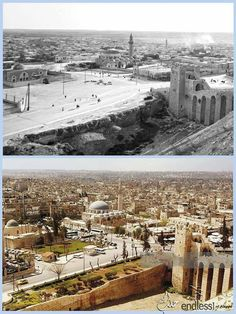 Syria - Comparison . Two images from Aleppo Citadel and the same axis, but the difference between them more than sixty years .. Old photo dated 1936 Modern image the late nineties . Which is the most beautiful in your opinion ??? And why ?? . With gratitude to the page resplendent glory Aleppo - Facebook