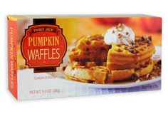 Trader Joe's Pumpkin Waffles - serve with butter, sprinkle with cinnamon and sugar