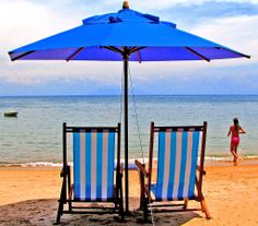 """My favourite colour is blue I love the sky blue Cause it's my favourite Cannot understand why Just is that This is forever my sun shine Blue looking up to the sky See bright bold blue My favourite colour is blue. I Love The Beach, Beach Fun, Sun Holidays, Seaside Holidays, Blue Umbrella, Paradise Found, Beach Chairs, Island Life, My Favorite Color"