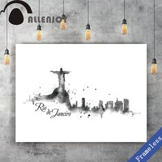 Rio de Janeiro Unframed Canvas Print Hand Paint watercolor Black and white Watercolor Art Paintings, Rio, Canvas Prints, Hand Painted, Black And White, Cool Stuff, Home Decor, Products, Watercolor Print