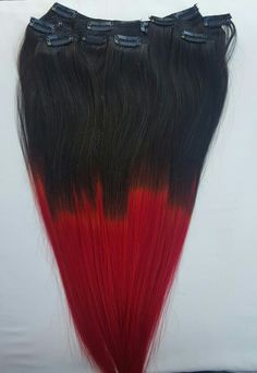 www.hairfauxyou.com T1B/Red color is here!!! 100% Human Hair Extensions. www.hairfauxyou.com Off black on top fades to red on bottom. Clip in $70 Halo $100 Tape in $100