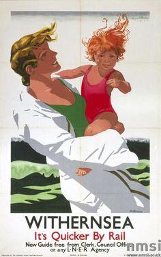 Withernsea (England) British railway travel beach poster, 1933 - Art Deco #retro #essenzadiriviera