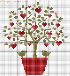 Ideas Embroidery Stitches Heart Charts For 2019 Cross Stitch Tree, Cross Stitch Heart, Cross Stitch Cards, Cross Stitch Flowers, Cross Stitching, Cross Stitch Embroidery, Embroidery Hoop Crafts, Hand Embroidery Patterns, Wedding Cross Stitch Patterns