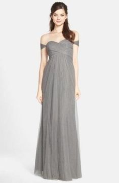 72e9359e6991 NWT Jenny Yoo Willow Convertible Tulle Gown Shadow Grey Size 10 #505 N/S
