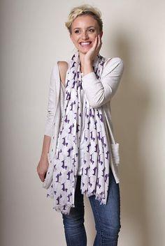 Anika Dali - Women's Bella Dachshund Doxie Dog Print Fashion Scarf (Purple) - Unique gift ideas, for her, dog lovers, Fashion Scarves