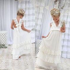 Romantic 2017 New Arrival Boho Flower Girl Dresses For Weddings Cheap V Neck Chiffon Lace Tiered Formal Wedding Dress Custom Made