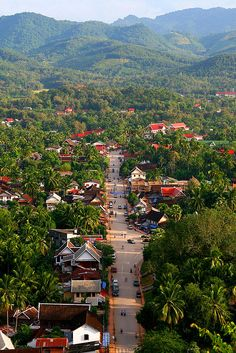 Bird's eye view of Luang Prabang, Laos. A city located in north central Laos, on the Mekong River about 425 km north of Vientiane, and the capital of Louangphrabang Province. Luang Prabang, Vientiane, Laos Travel, Asia Travel, Beach Travel, Summer Travel, Places To Travel, Places To See, Cambodia