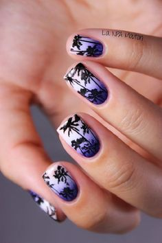 Violet themed Palm Tree Nail Art design. The background is painted in white and violet colors designed to create a gradient. The palm trees are then painted in black silhouette to keep a good contrast against the background.