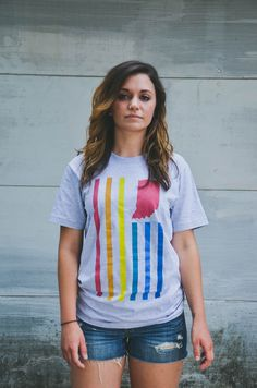 21f81b99f0637 United State of Indiana Pride Flag Tee.  26