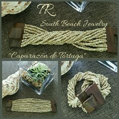 "Caparaz?n de Tortuga ""Brazalete"" From South Beach to you!  Step out on the beach or wear it out on the town!!  Custom jewelry designer Frederico has designed a variety of beautiful ""brazaletes"". He uses a variety of glass beads that are suspended on an elastic thread, to fit any wrist size. Wooden closure. No 2 the same!!! These ""brazaletes"" offer you the option to change the designs by simply separating the strands and twisting.   Materials: ?	Wooden Buckle  ?	High strength elastic thread…"