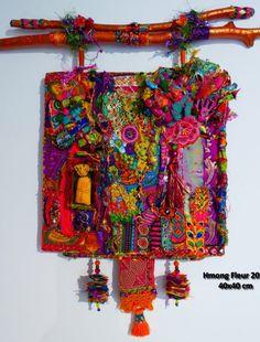 Fabric Beads, Fabric Jewelry, Fabric Art, Fabric Scraps, Art Fibres Textiles, Textile Fiber Art, Textile Artists, Rideaux Boho, Collages