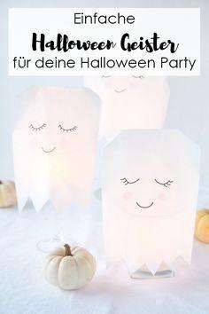 Halloween Deko: Einfache Geister aus Papiertüten basteln