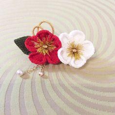 紅色和白色的梅花和縐髮夾珍珠