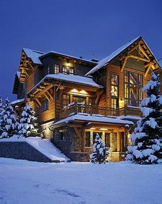 Rustic Log Home in Aspen, CO. I love the town center in Aspen, it is beautiful and the views day or night are breathtaking. Log Cabin Homes, Log Cabins, Log Cabin Exterior, Mountain Homes, Aspen Mountain, Mountain Style, Mountain Cabins, Cabins And Cottages, Luxury Houses