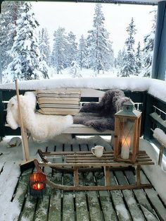 Cute And Cozy Winter Balcony Decor Ideas Winter Porch, Winter Cabin, Winter Christmas, Cozy Winter, Outdoor Christmas, Snow Cabin, Winter Coffee, Noel Christmas, Winter Snow