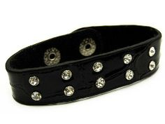 """Crystal Studs Faux Alligator Leather Wristband Cuff Bracelet Snap Closure Black Accessoriesforever. $8.45. Material: Black Faux Leather, Clear Crystals, Rhodium Plated. Dimensions (Size): Approx. 8""""L x 0.75""""W (For Wrist Sizes Up to 7.5""""), Heart: 1.2""""L x 0.75""""W. Lead/Nickel Free. Style: Alligator, Cuff, Wrap, Wristband, Adjustable Snap Closure. Color: Black"""