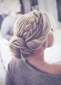 The most perfect braided updo twisted into an elegant low bun. This hairstyle is… The most perfect braided updo twisted into an elegant low bun. This hairstyle is…,Braids The most perfect braided updo twisted. Braided Hairstyles For Wedding, Wedding Headpieces, Wedding Hair With Braid, Hair Styles For Wedding, Formal Hairstyles, Chic Hairstyles, Wedding Hair Blonde, Bridal Hair Updo With Veil, Bridal Hair Braids