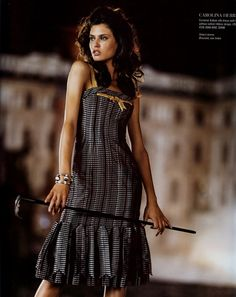 Bianca Balti-adorable dress with gold strap and bow trim