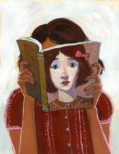 Is this the face of the reader? / Será este el rostro de la lectora? (ilustración de Erin McGuire)