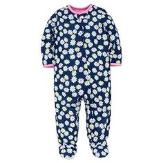 Little Me Baby Girl Daisy Flower Soft Zip Footie Pajamas Footed Sleeper Navy 12M