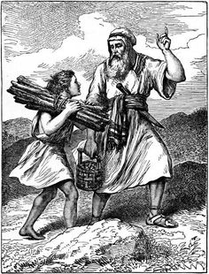 Abraham and Isaac going up to the place where Isaac was to be sacrificed by his father Abraham,in the same mountain Jesus was to be sacrificed 1.000 years later by his Father.