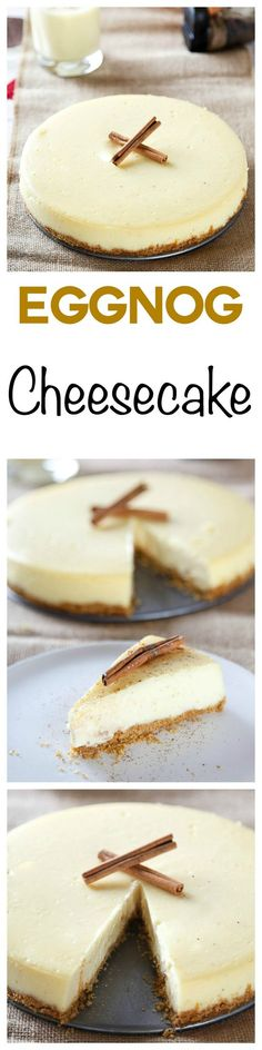 Eggnog Cheesecake: Rich eggnog meets smooth and creamy cheesecake in this decadent Christmas dessert. Your favorite holiday beverage in cheesecake form!