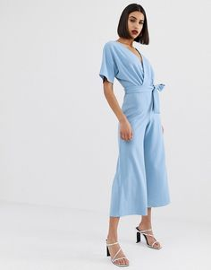 Buy PrettyLittleThing culotte jumpsuit with kimono sleeve in light blue at ASOS. With free delivery and return options (Ts&Cs apply), online shopping has never been so easy. Get the latest trends with ASOS now. Satin Jumpsuit, Fitted Jumpsuit, Jumpsuit With Sleeves, Blue Jumpsuits, Jumpsuits For Women, Asos, Blue Kimono, Wedding Jumpsuit, Bridesmaid Outfit