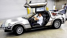 "A bioethanol-fueled DeLorean modeled after the time machine in the ""Back to the Future"" film franchise is seen in Narita, Chiba Prefecture, on Aug. 28. A recycling firm and DVD retailer have teamed to create a DeLorean automobile that runs on trash clothing, replicating the fictional time machine of the ""Back to the Future"" film trilogy. Developed by Jeplan Inc. and NBC Universal Entertainment Japan LLC, the vehicle is powered by bioethanol produced from cotton fibers of old clothes. The…"
