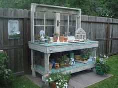 Callaway I really love my potting bench.my hubby rocks!I really love my potting bench.my hubby rocks! Potting Bench With Sink, Outdoor Potting Bench, Potting Bench Plans, Potting Tables, Potting Sheds, Rustic Potting Benches, Garden Sink, Garden Table, Garden Benches