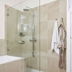 Bath and shower in bathrooms