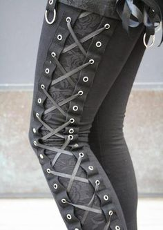Double layer lace up grey leggings.